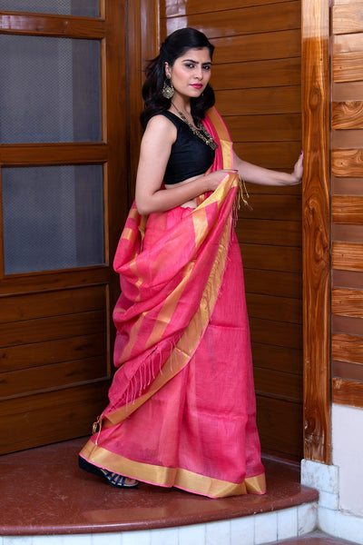 Cerise Pink Pure Linen Saree With Golden Border