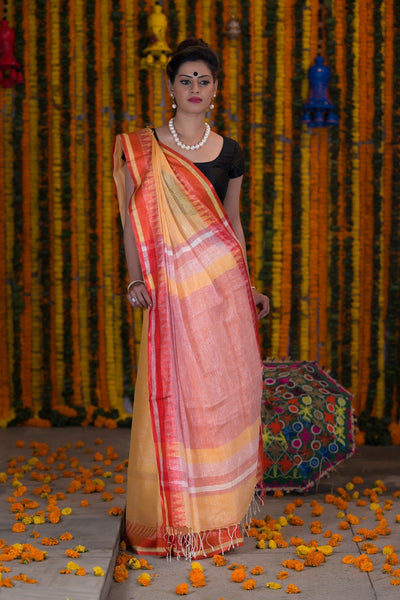Pineapple  Yellow Pure linen Handloom Saree