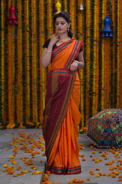 Orange Pure Cotton Saree With Pure Zari Work On Border