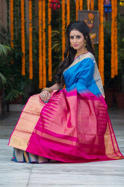 Lapis Blue With Pink Pallu And Border Pure South Indian Silk Saree