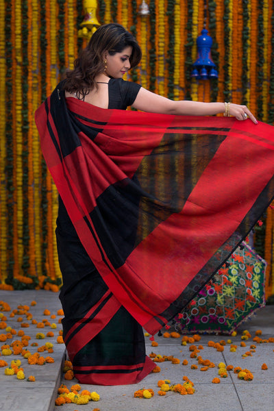 Black With Cherry Red Pallu Pure Linen Handloom Saree