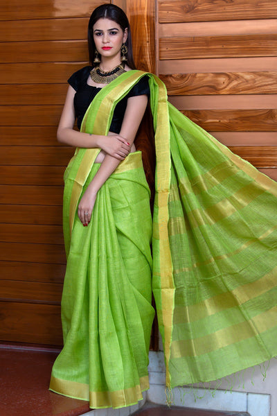 Pale Green Pure Linen Saree With Golden Border