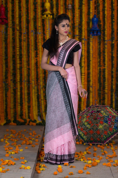 Pink And Black Pure linen Handloom Saree