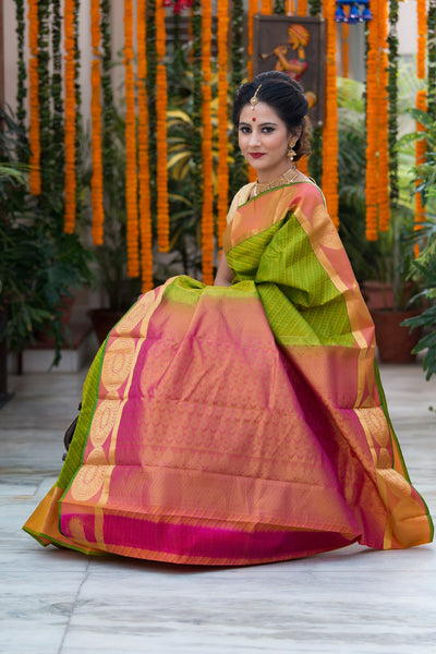 Green With Rust Pallu And Border Pure Soft Silk Saree