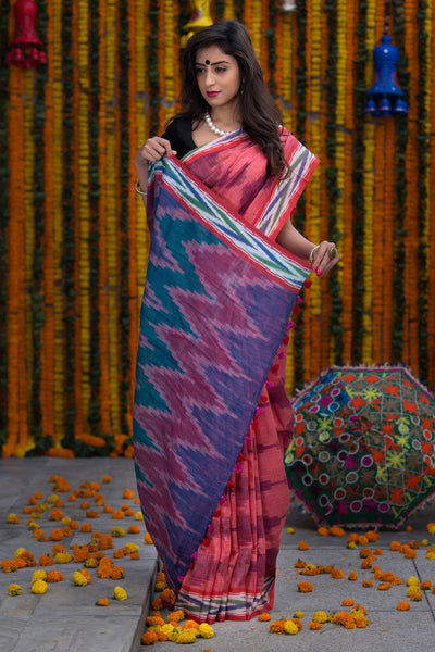Pink And Purple Pure Linen Ikkat Saree