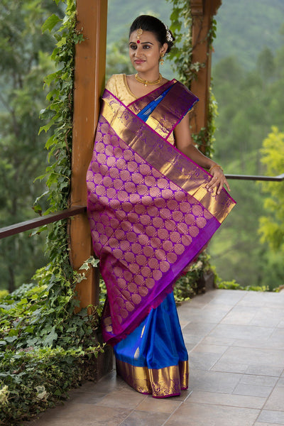 Cerulean Blue With Purple Pallu And Border Soft Silk Saree