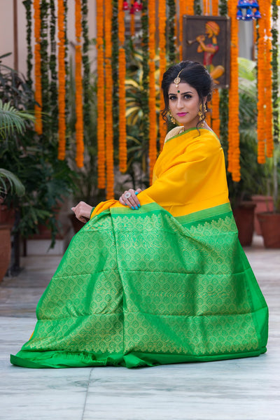 Bumblebee Yellow With Green Pallu  Pure Soft Silk Saree