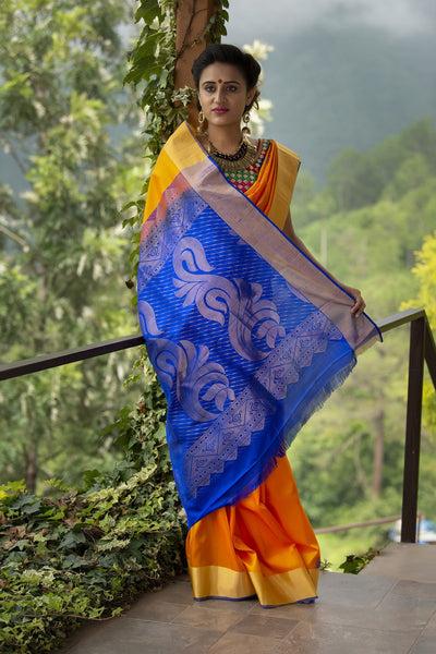 Merigold Yellow Pure Soft Silk Saree With Blue Zari Pallu