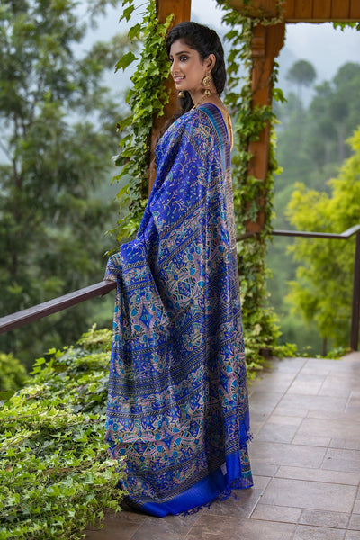 Blue Printed Pure Tussar Silk Saree
