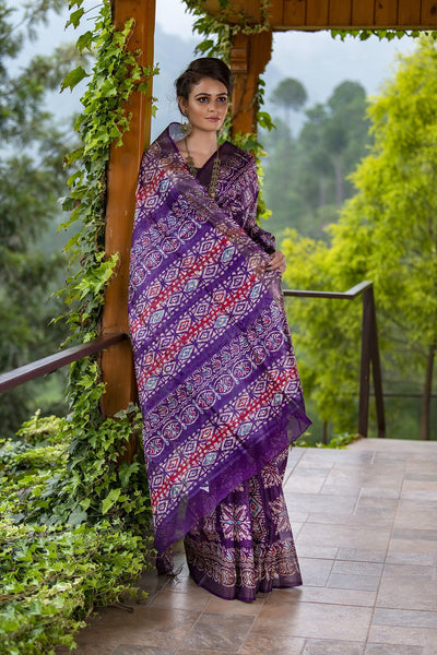 Purple With Pink And Red Prints Pure Tussar Silk Saree