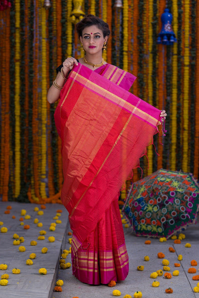 Candy Red With Pink Pallu And Border Kota Cotton Saree