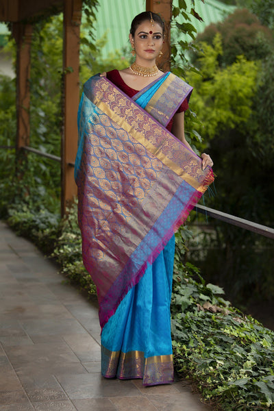 Cerulean Blue With Magenta Pink Pallu And Border Pure Soft Silk Saree With Jacquard work