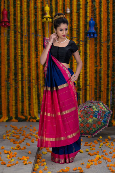 Blue And Pink Pure Cotton Saree With Pure Zari Booti Work On Border