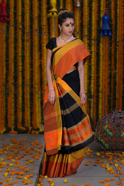Black With Orange Yellow Pallu And Border Kota Cotton Saree