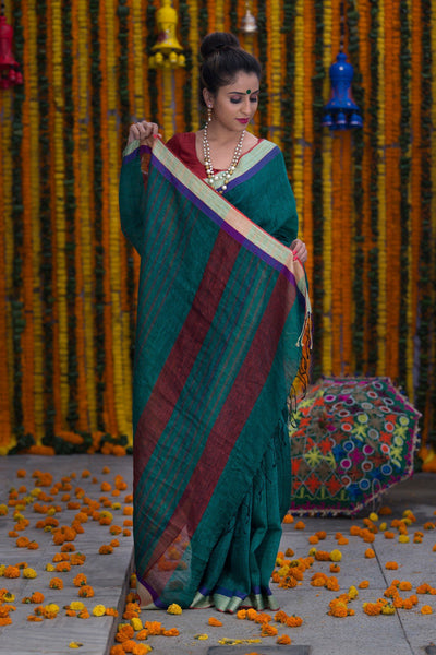 Green And Red Pure linen Handloom Saree