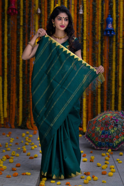 Forest Green With Zari Pallu Soft Tissue Silk Saree