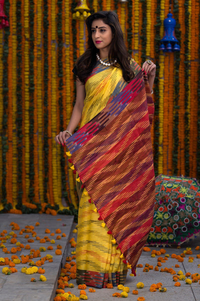 Red And Yellow Pure Linen Ikkat Saree