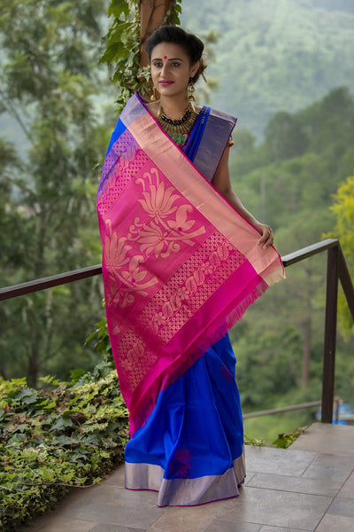 Zaffre Blue Kanjivaram Pattu Soft Silk Saree With Hotpink Pallu