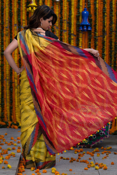 Pineapple Yellow With Red Pallu Pure Linen Ikkat Saree