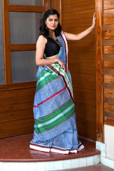 Light Blue Pure Linen Saree With Green Border