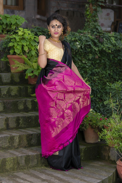 Black With Pink Pallu And Border Pure Soft Silk Saree
