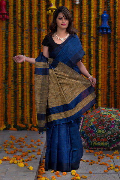 Midnight Blue With Jute Pallu Pure Linen Bhagalpur Saree