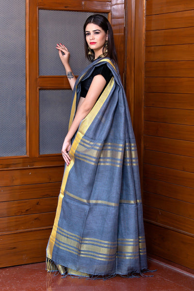 Grey Pure Linen Saree With Golden Border