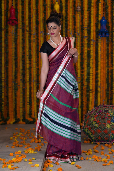 Wine Purple Pure linen Handloom Saree