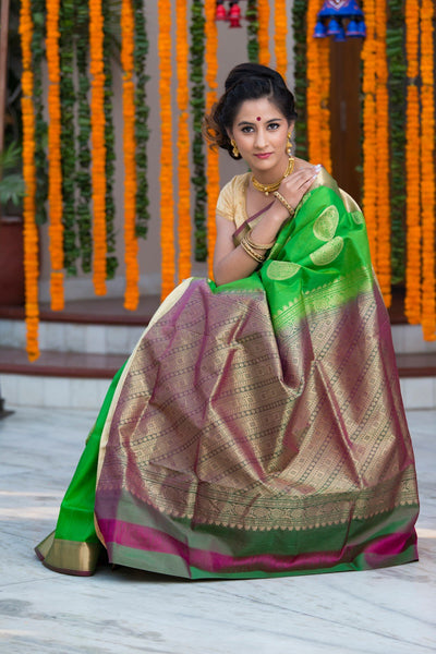 Shamrock Green Soft Silk Saree