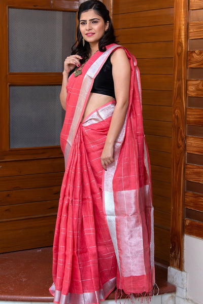 Punch Pink Pure Linen Saree With Silver Pallu