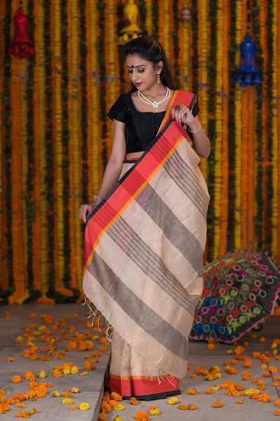 Peach Cream Pure linen Handloom Saree