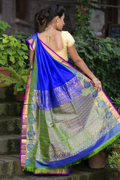 Blue Pure Kanjivaram Soft Silk With Green Zari Pallu With Jacquard Work