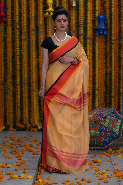 Banana Yellow Pure linen Handloom Saree