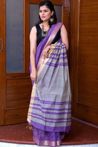 Iris Purple With Grey Pallu Pure Linen Saree
