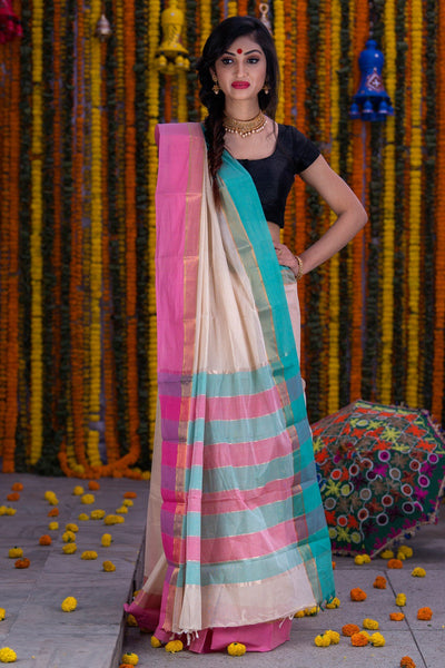 Offwhite Pure South Cotton Handloom Kovai Cora Saree With Pure Zari Border