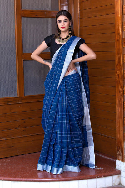 Royal Blue Pure Linen Saree With Grey Border