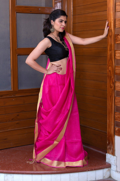 Fuscia Pink With Beige Border Pure Linen Saree