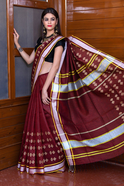 Wine Red Pure Linen Saree With White Border