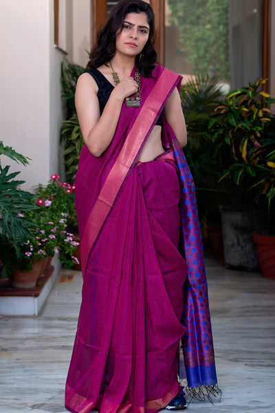 Violet  With Blue Pallu  Pure Linen Saree