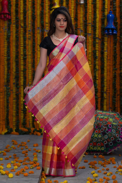 Checked Orange Red Yellow And Pink Pure Linen Handloom Saree