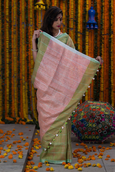 Sage Green And Pink Pallu Checked Pure Linen Handloom Saree