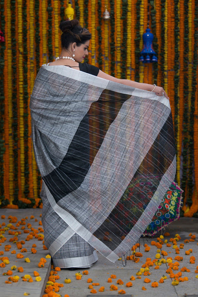 Grey And Black Pure linen Handloom Saree