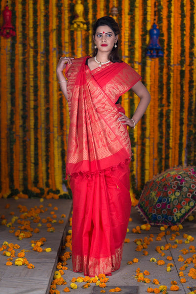 Candy Red Pure South Cotton Handloom Kovai Cora Saree