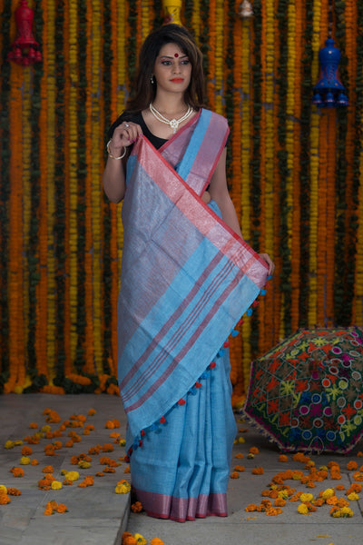 Steel Blue Pure Linen Handloom Saree With Red Pallu And Border