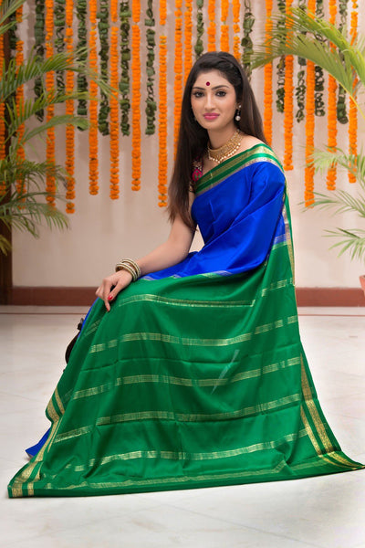 Blue And Green Pure Crepe Silk Saree