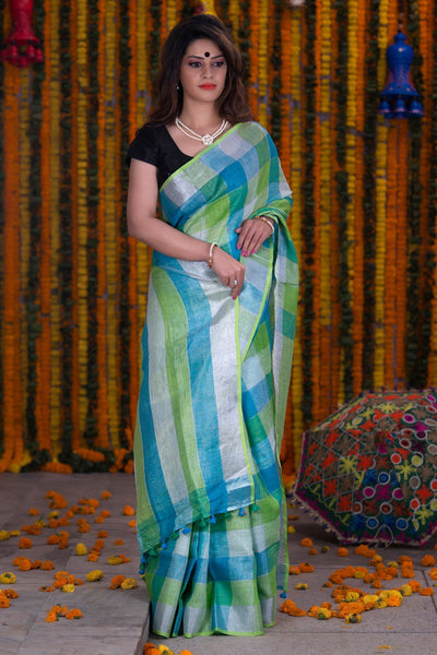 Checked Blue Green And White Pure Linen Handloom Saree