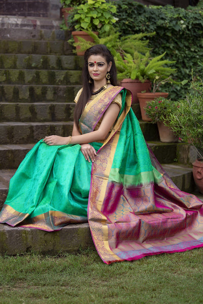 Mint And Hotpink Pure Silk Saree Jacquard Work