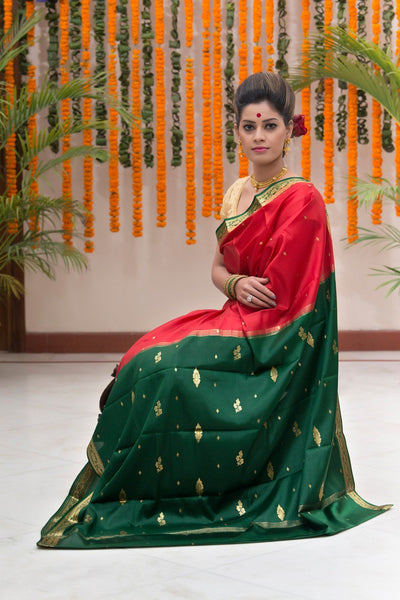 Red And Jade Green Pure Crepe Silk Saree
