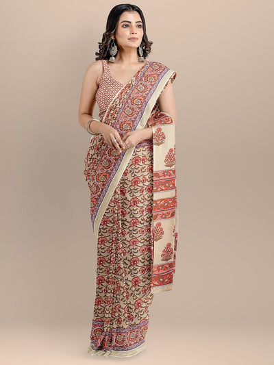 Beige Color Pure Cotton Printed Handloom Saree