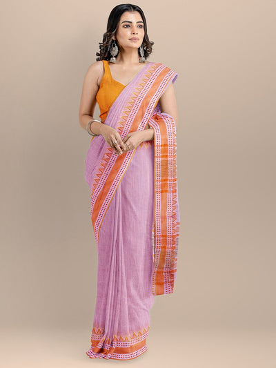 Pink Color Pure Cotton Woven Design Maheshwari Handloom Saree